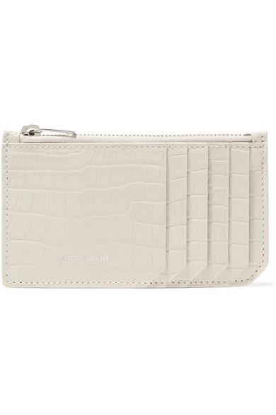 Saint Laurent Tops Croc-effect patent-leather cardholder