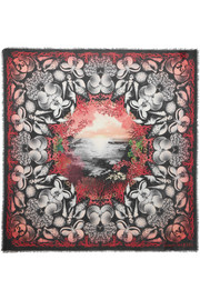 Alexander McQueen Dream Shell printed modal and wool-blend scarf