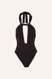 Saint Laurent Neckholder-Body aus Stretch-Jersey mit Verzierungen