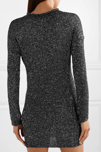 Saint Laurent Dress Sequined stretch-knit mini dress