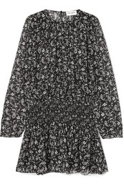 Saint Laurent Shirred printed silk-georgette mini dress