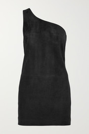 Saint Laurent One-shoulder suede mini dress