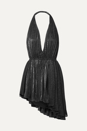 Saint Laurent Asymmetric striped lamé halterneck mini dress