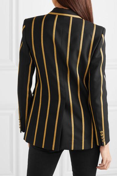 Saint Laurent Blazers Metallic canvas-striped wool blazer