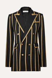 Saint Laurent Metallic canvas-striped wool blazer