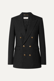 Double-breasted pinstriped wool blazer