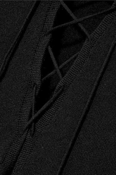 Saint Laurent Knits Lace-up cashmere and silk-blend top
