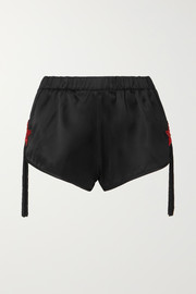 Saint Laurent Tasseled bead-embellished satin shorts