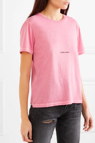 Saint Laurent Shirts Printed cotton-jersey T-shirt