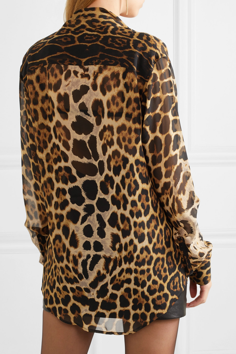 b21020826baa4 Saint Laurent Pussy-bow leopard-print silk-georgette blouse