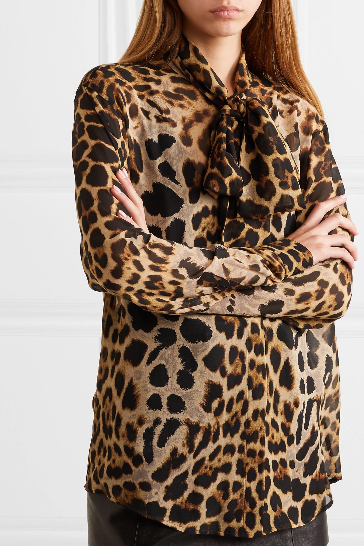 SAINT LAURENT Pussy-bow leopard-print silk-georgette blouse
