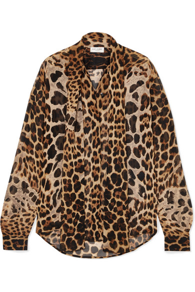 28520c33575ba Saint Laurent. Pussy-bow leopard-print silk-georgette blouse