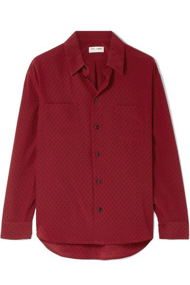 SAINT LAURENT | Saint Laurent - Printed Silk Crepe De Chine Shirt - Claret | Goxip
