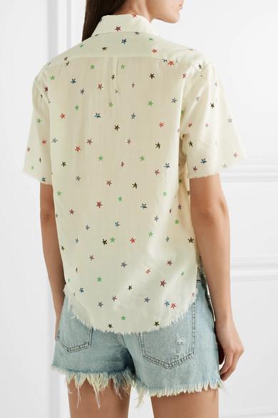 Saint Laurent Shirts Frayed printed cotton-voile shirt