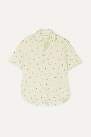 Frayed printed cotton-voile shirt
