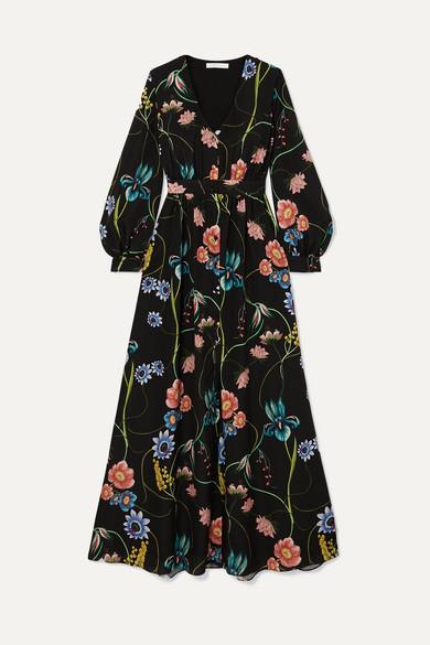BORGO DE NOR Francesca Floral-Print Crepe De Chine Maxi Dress in Black