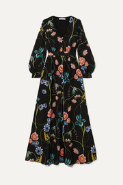 Francesca floral-print crepe de chine maxi dress