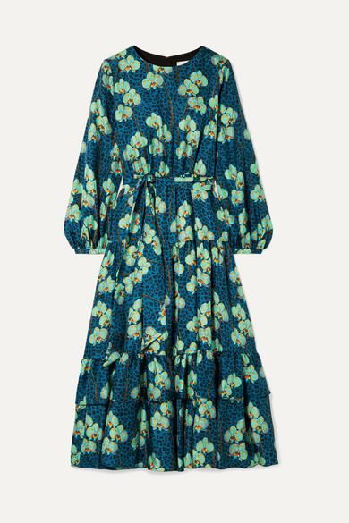 BORGO DE NOR Augustina Long-Sleeve Leopard Orchid Print Silk Twill Long Dress in Blue