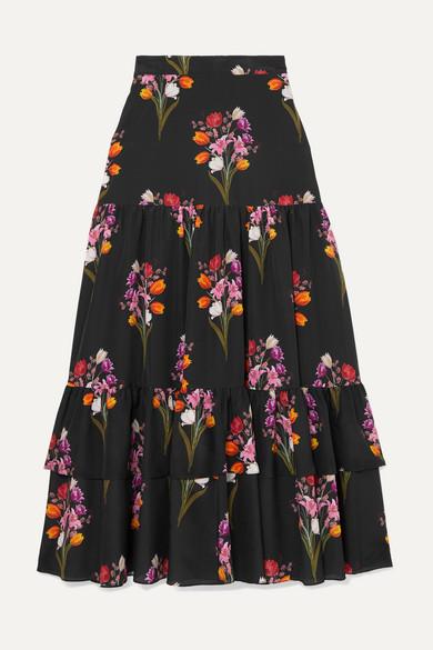 BORGO DE NOR Emme Tiered Floral-Print Crepe De Chine Skirt in Black