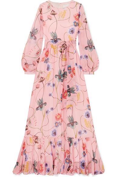 BORGO DE NOR Dianora Long-Sleeve Tie-Waist Floral-Print Silk Georgette Maxi Dress in Pink
