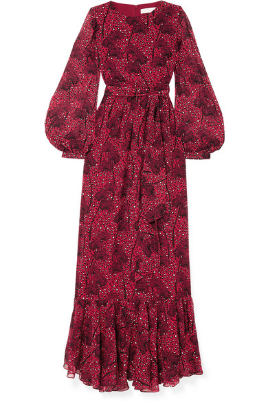 BORGO DE NOR Dianora Long-Sleeve Tie-Waist Floral-Print Silk Georgette Maxi Dress in Red