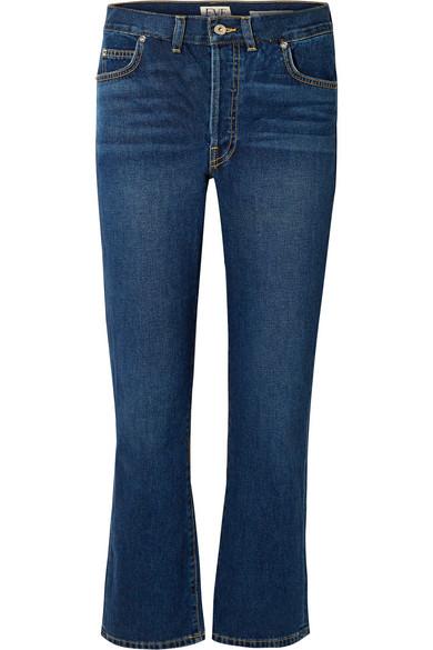 EVE DENIM Jane Cropped High-Rise Flared Jeans in Mid Denim