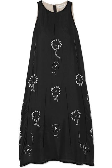 Wales Bonner Dresses Embellished silk-chiffon midi dress
