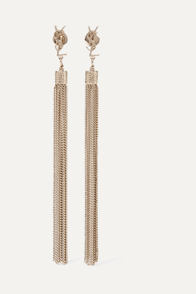 63e9336493c SAINT LAURENT | Gold-plated tassel earrings | NET-A-PORTER.COM