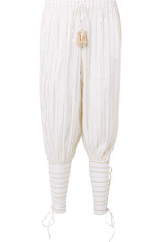Miguelina Tara lace-up striped cotton and Lurex-blend voile pants