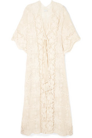 Miguelina Valentina crocheted cotton-lace robe