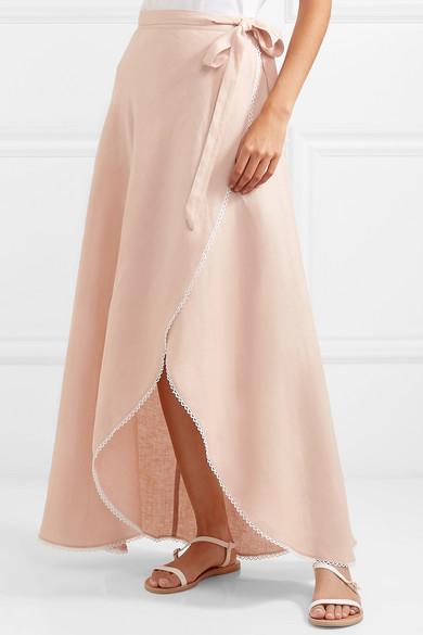 9e7a9fb1e60 Miguelina. Ballerina crochet-trimmed linen wrap maxi skirt
