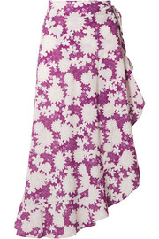 Miguelina Liviona ruffled floral-print cotton-voile wrap skirt