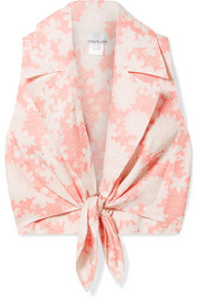 Miguelina Jill tie-front floral-print linen top