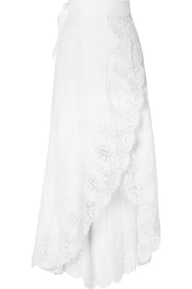 Miguelina CLARICE GUIPURE LACE-TRIMMED LINEN WRAP SKIRT