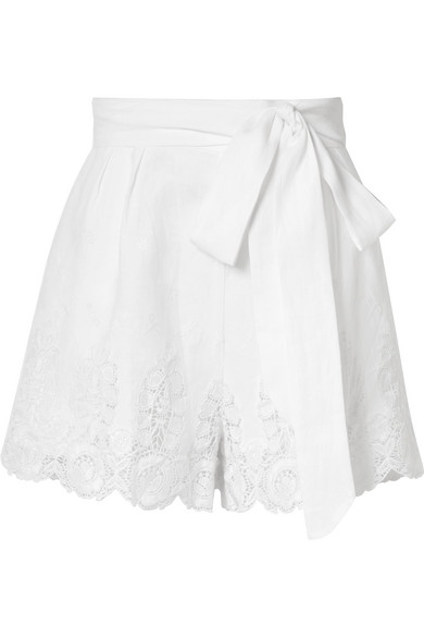 Miguelina LIANA GUIPURE LACE-TRIMMED LINEN SHORTS