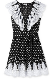 Payton lace-trimmed polka-dot cotton-voile mini dress