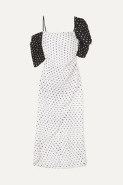 Layla wrap-effect polka-dot seersucker midi dress