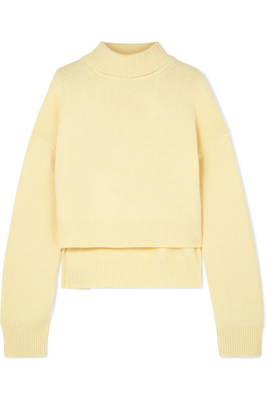 Cashmere Lemon Yellow Roll Neck Knit