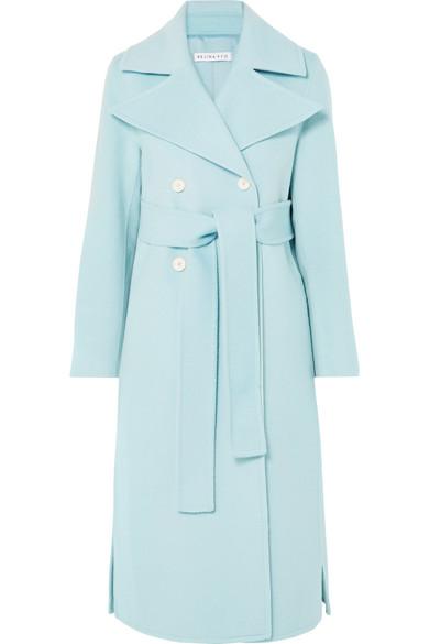 Simone Belted Wool-Blend Felt Coat in Sky Blue