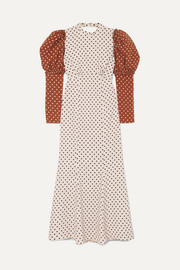 Sibylle draped two-tone polka-dot crepe midi dress