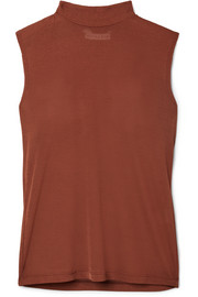 Rebecca tie-neck jersey turtleneck top