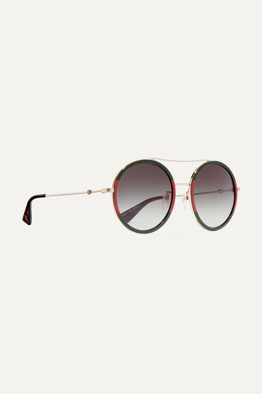 Gucci Round-frame striped acetate and gold-tone sunglasses