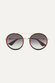 Gucci Round-frame striped acetate and gold-tone sunglasses