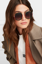Round-frame striped acetate and gold-tone sunglasses