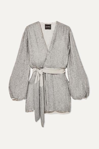 RETROFÉTE Gabrielle Velvet-Trimmed Sequined Satin Wrap Mini Dress in Silver
