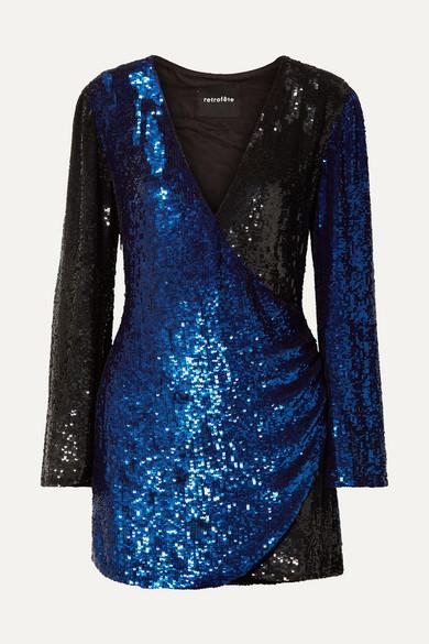 RETROFÉTE Christine Wrap-Effect Two-Tone Sequined Satin Mini Dress in Blue