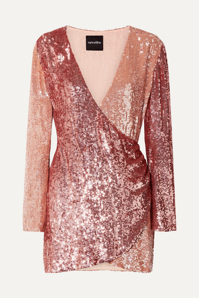 RETROFÉTE Christine Wrap-Effect Two-Tone Sequined Satin Mini Dress in Pink