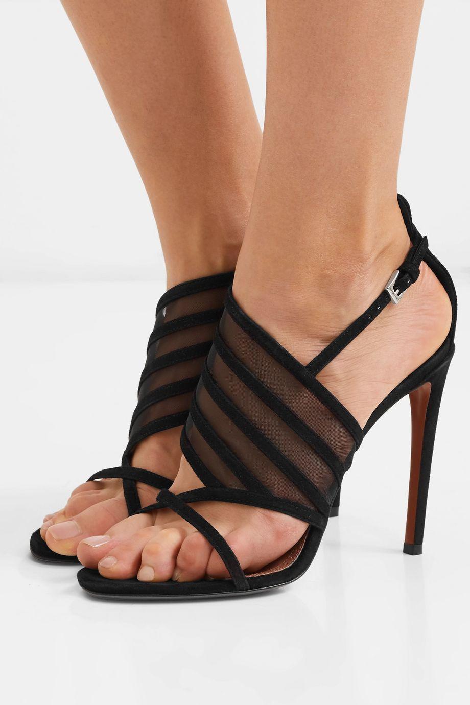 Alaïa 110 suede and mesh sandals