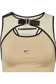 + Matthew Williams faux leather-trimmed stretch and mesh sports bra