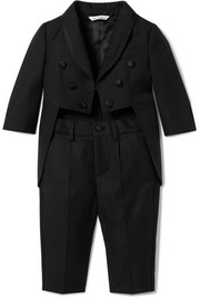 Months 6 - 30 satin-trimmed wool-blend suit